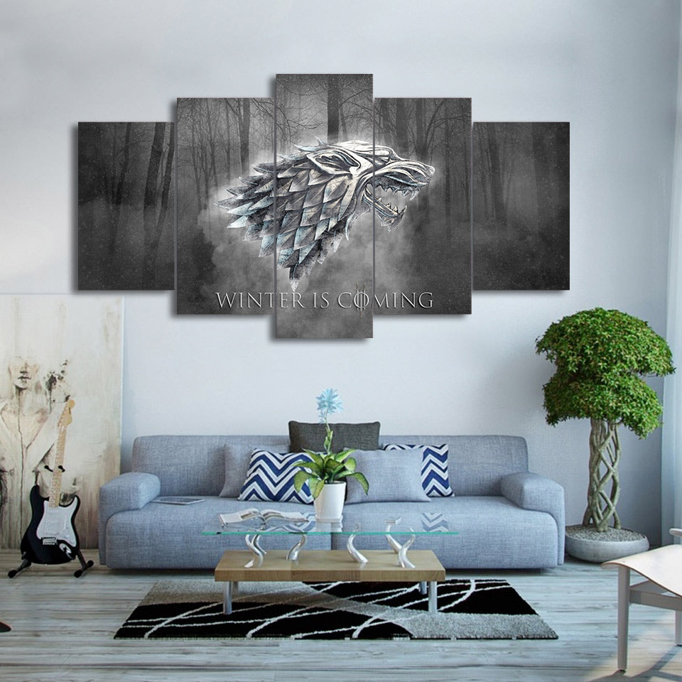 canvas art winter is coming stark wolf wall pictures Canvas Art - Home Wall Deco