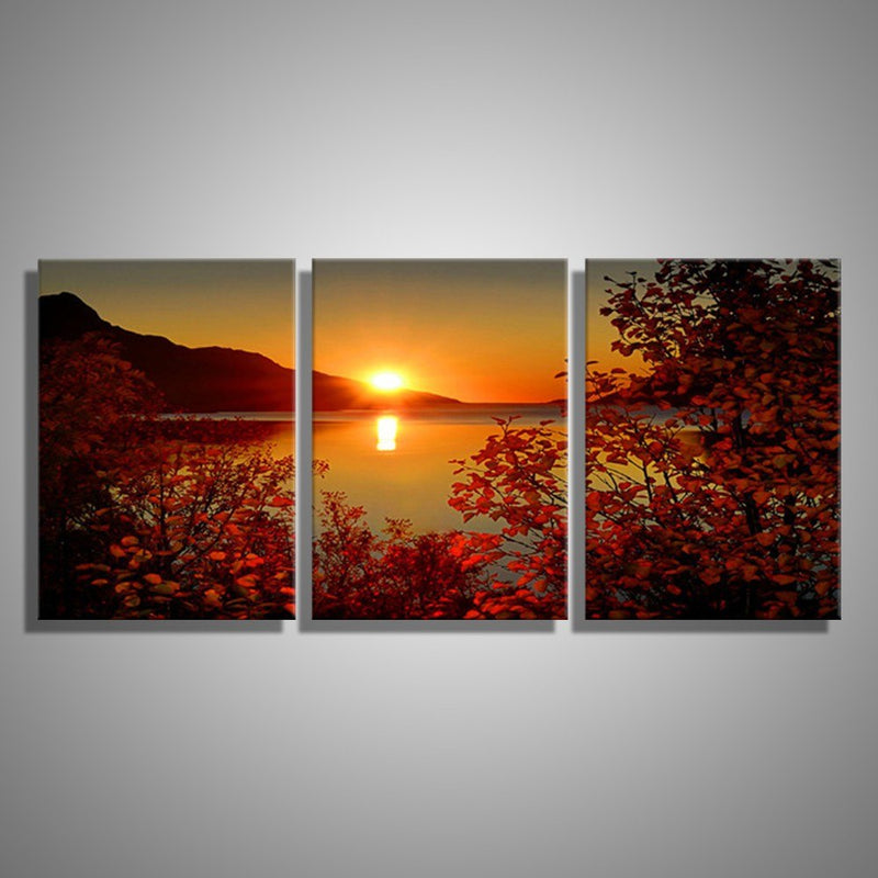 3 Pieces Lake Sunset Landscape - Home Wall Deco