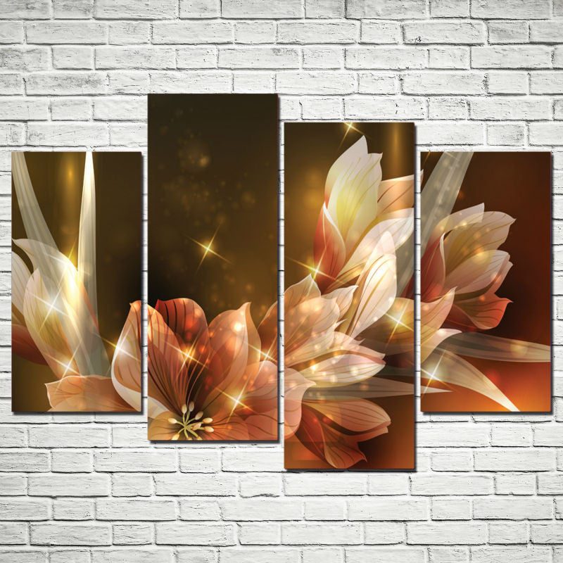 flowers pictures Bedroom Canvas Print - 4 Piece Canvas Painting - Home Wall Deco