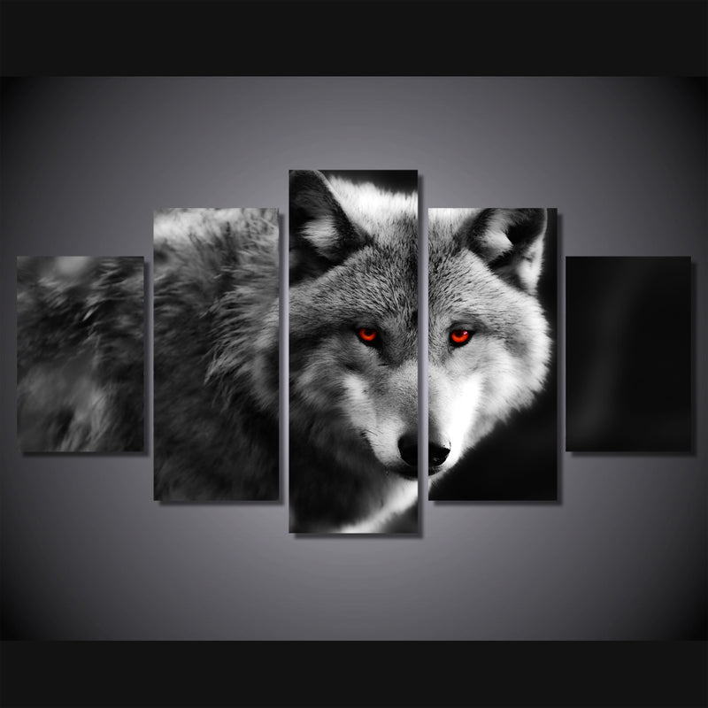 5 Pcs canvas art animals wolf painting Canvas Art - Home Wall Deco