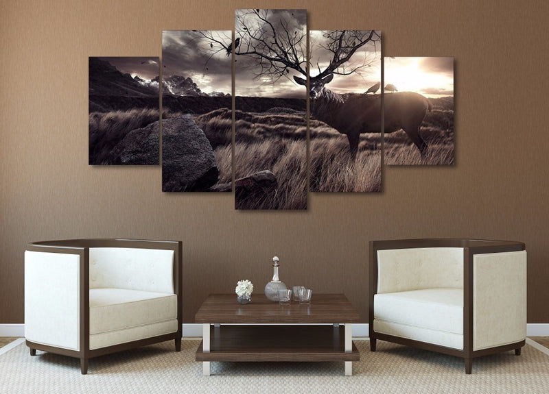 5 Piece Animal Elk Canvas - Home Wall Deco
