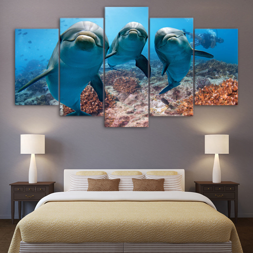 Deep Ocean Swimming Dolphin Canvas for Living Room Wall Art Canvas Art - Home Wall Deco