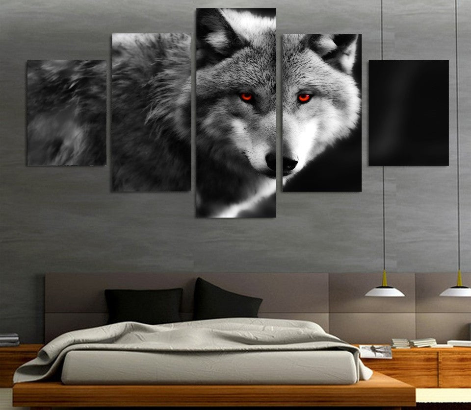 5 Piece Red eyes wolf Canvas - Home Wall Deco