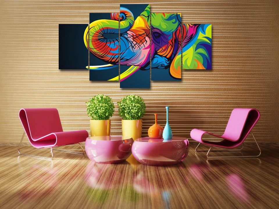 5 Piece art elephant Canvas - Home Wall Deco