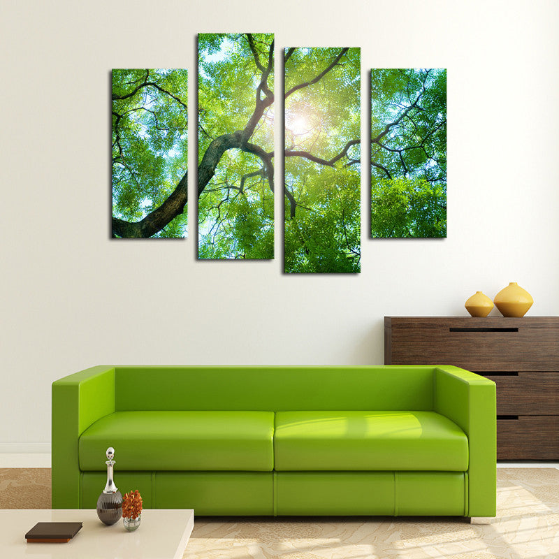 4 Pieces Green tree Canvas - Home Wall Deco