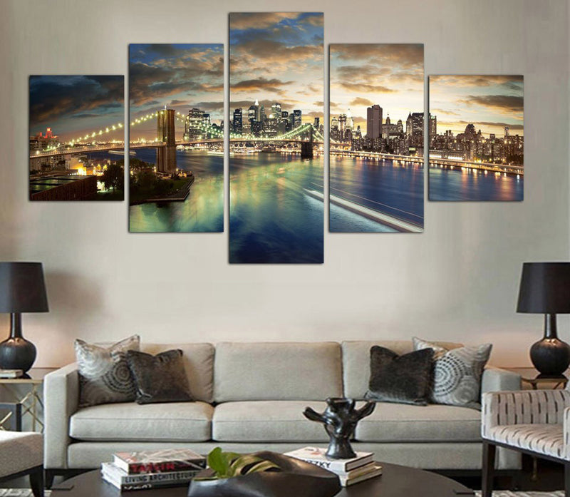 5 Piece New York City landscape canvas - Home Wall Deco