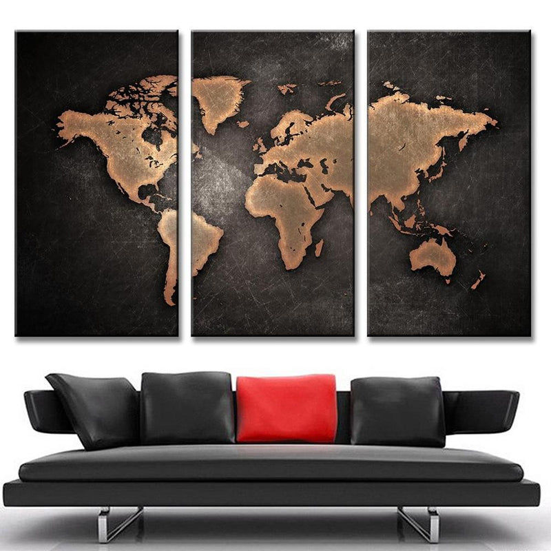3 Pieces World Map Canvas - Home Wall Deco