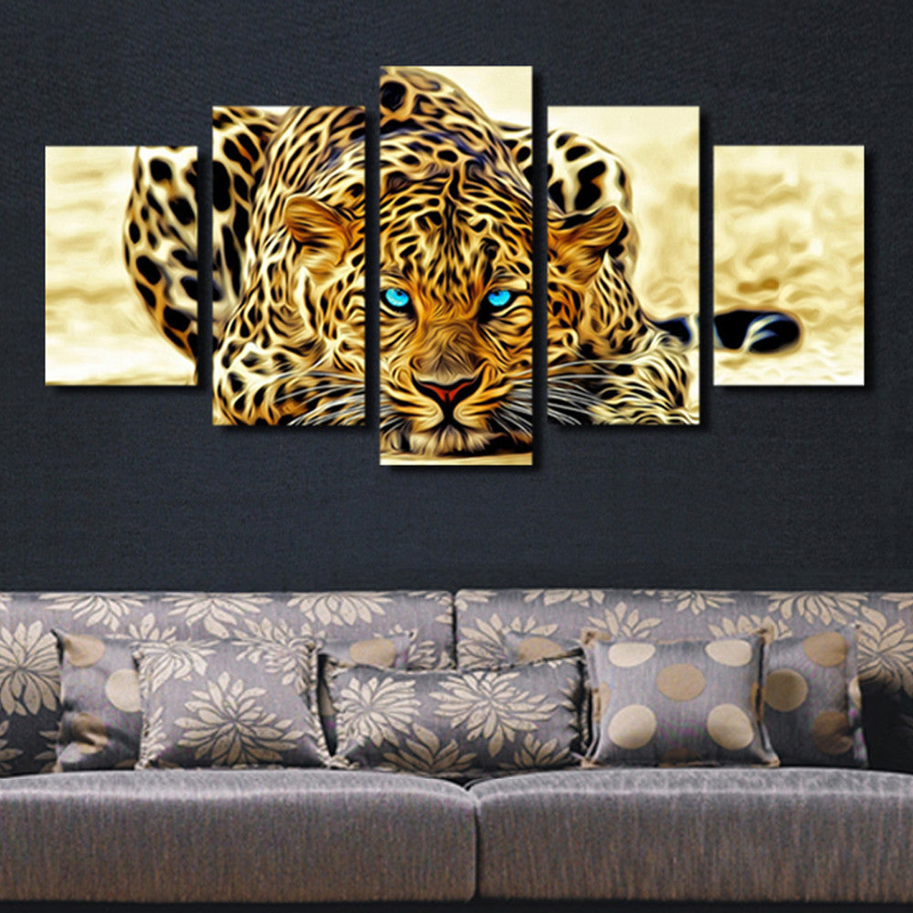 5 Piece Leopards Animal Canvas - Home Wall Deco