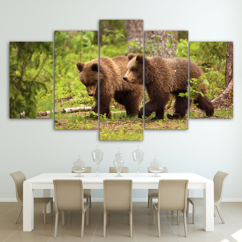 Canvas Art Forest Brown Bears Hunting Wall Art Pictures for Living Room - Home Wall Deco