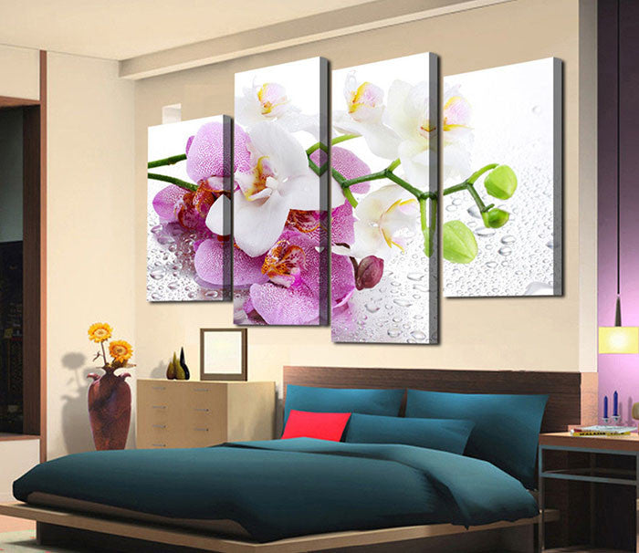 4 Pcs Pink orchid flower Canvas - Home Wall Deco