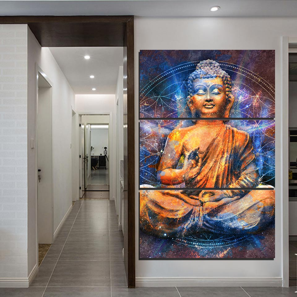3 Piece Abstract Buddha Painting Canvas For Living Room - Home Wall Deco