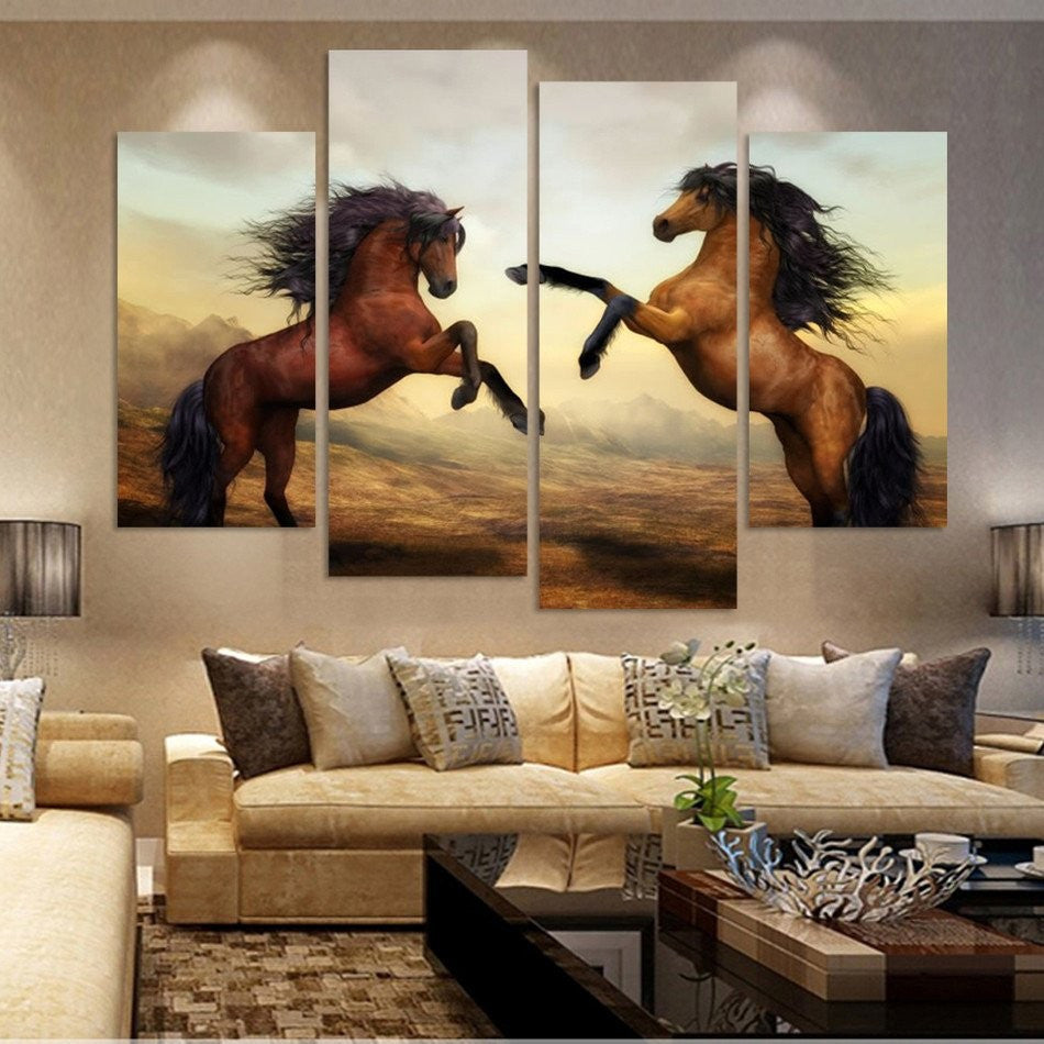 4 Pieces horse Canvas - Home Wall Deco