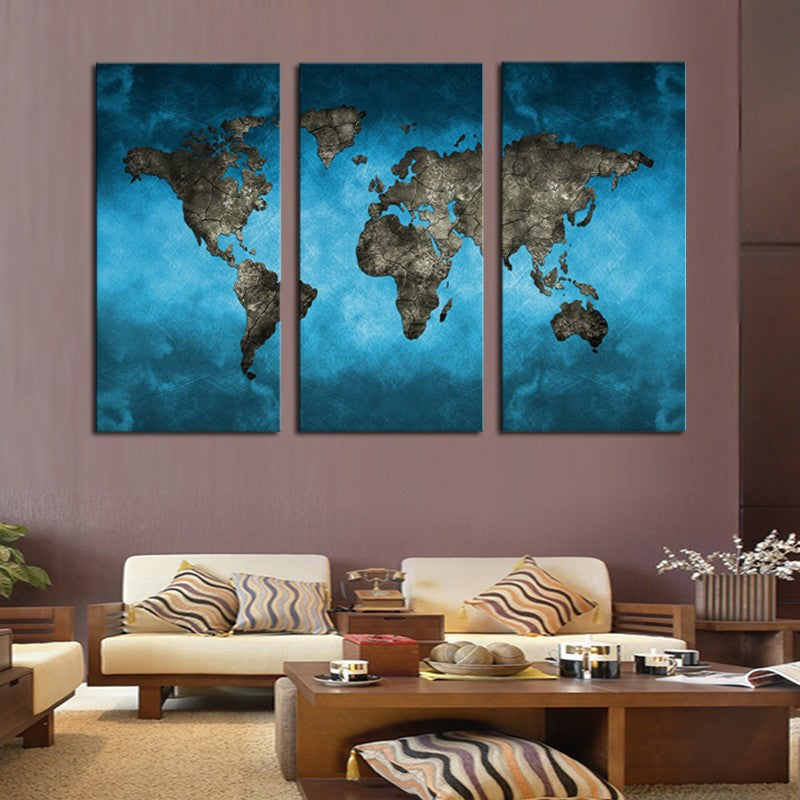 3 Piece Blue Map Canvas - Home Wall Deco