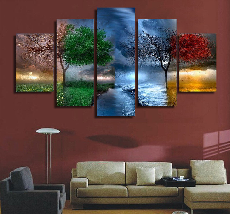 5 Piece Fantasy Nature Tree Canvas - Home Wall Deco