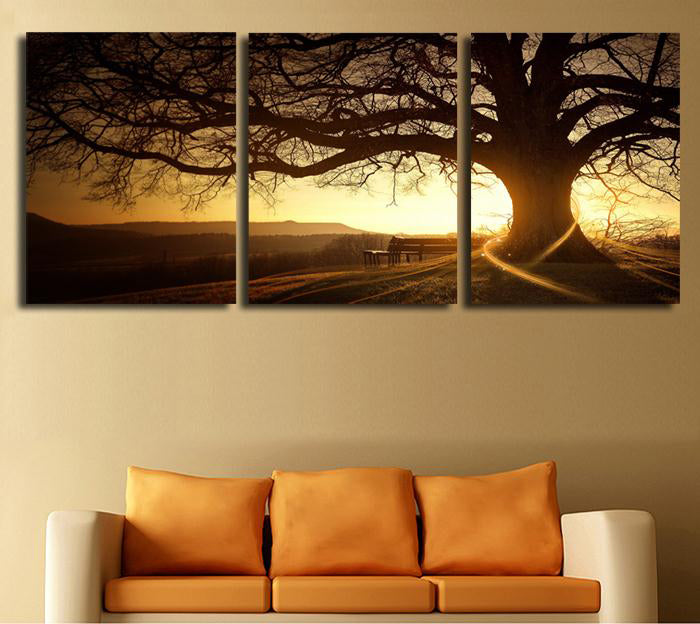 Sunset Tree Canvas Wall Art, Home Decor For Living Room - Home Wall Deco