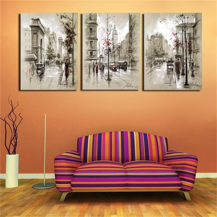 3 pieces Retro City Street Landscape Canvas - Home Wall Deco