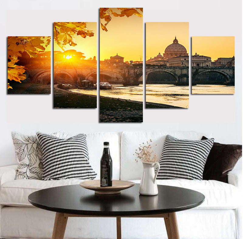 Sunset City Modern High Building Canvas Wall Picture Decor Art Print Poster Canvas Art - Home Wall Deco
