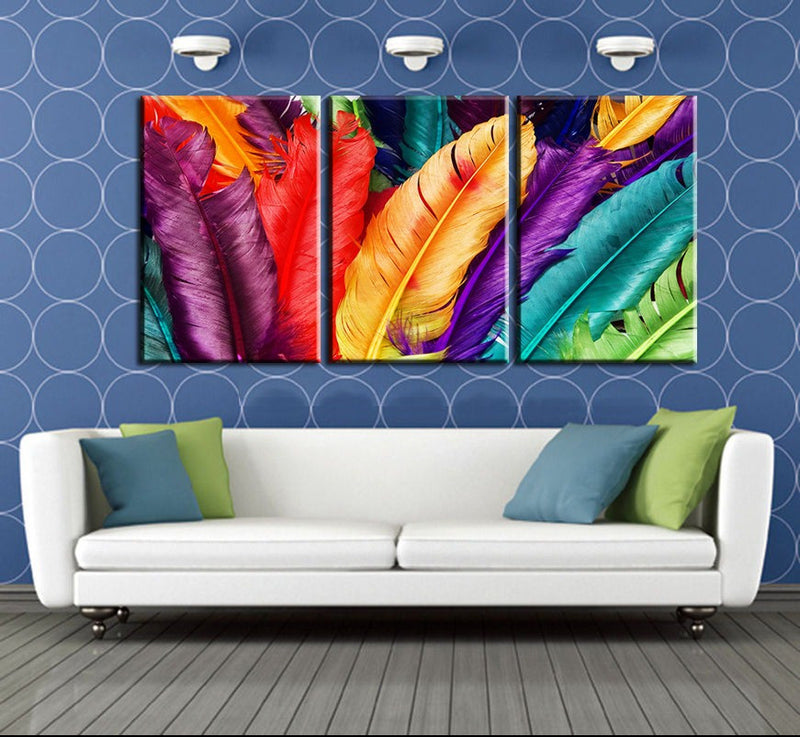 3 Piece Feathers canvas - Home Wall Deco