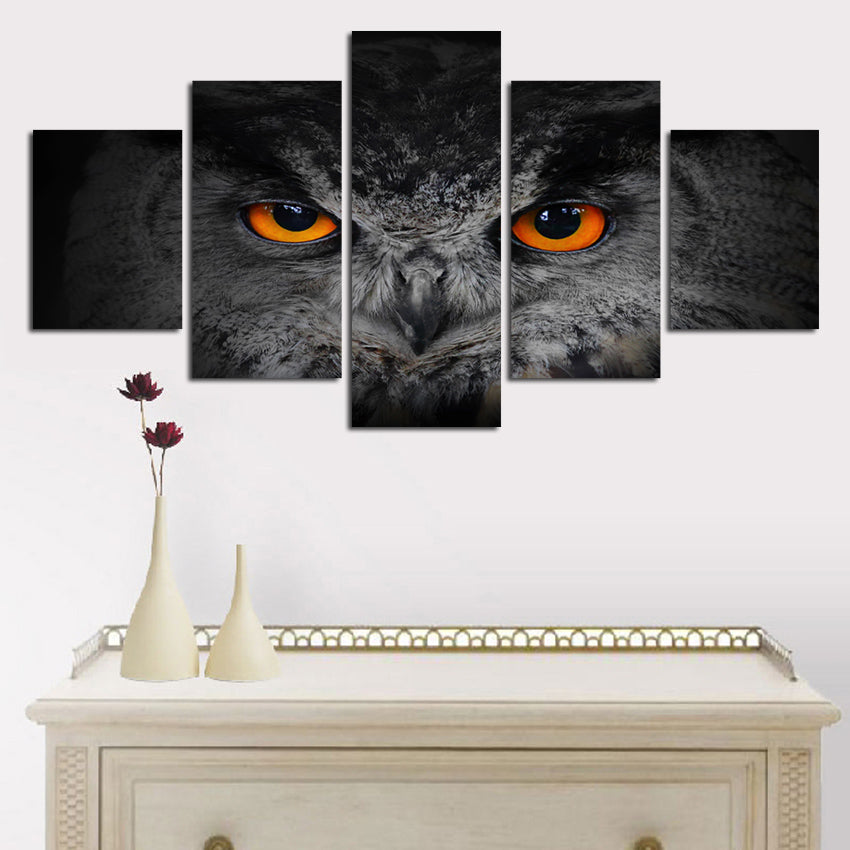 5 Panel Art Canvas Owl Eyes Hotel kitchen Home Decor Art Wall Canvas Art - Home Wall Deco