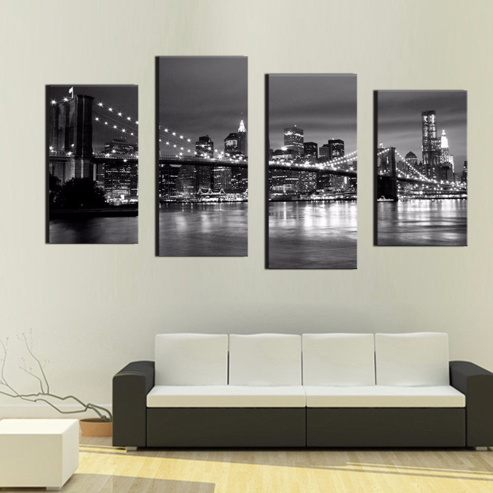 4 Pieces  New York Brooklyn Bridge Canvas - Home Wall Deco