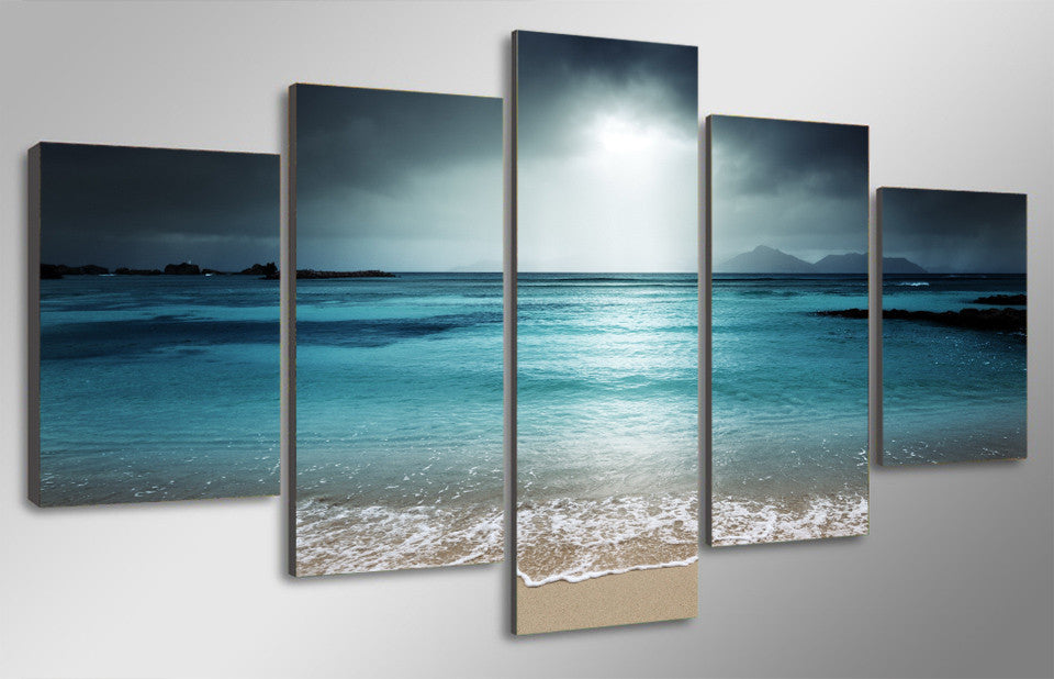 5 Piece beach ocean sea sunset Canvas - Home Wall Deco
