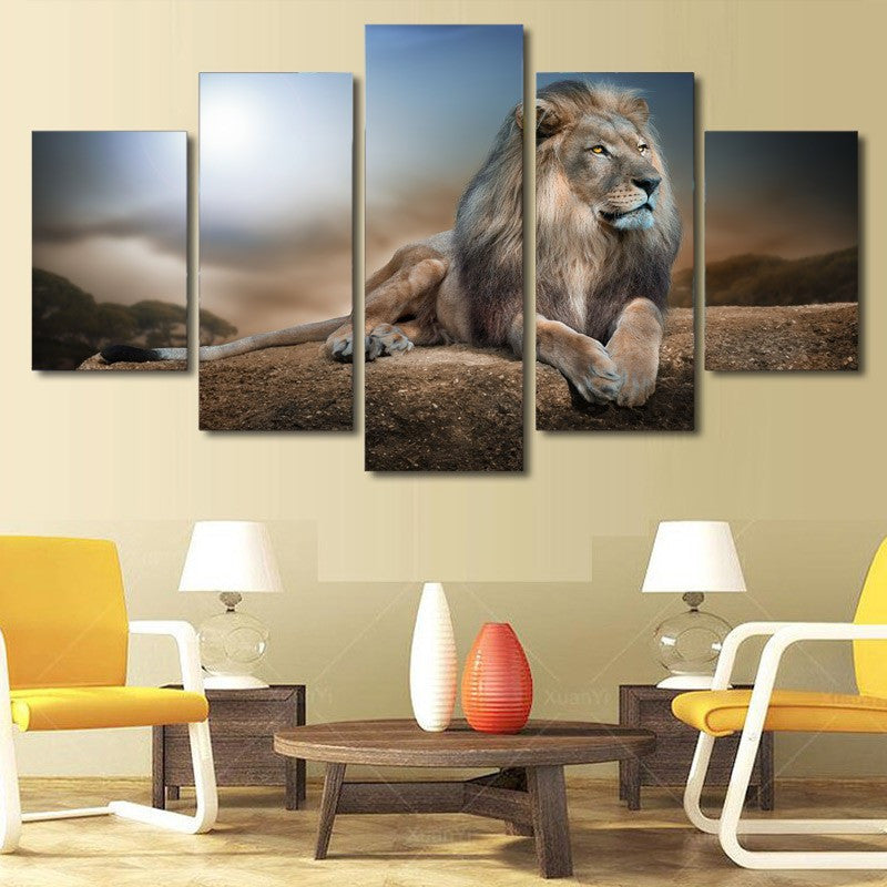 5 Piece Animals Lion Canvas - Home Wall Deco