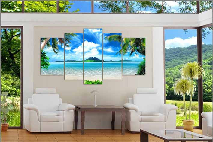 5 Piece Azure Sky Ocean White Clouds Coconut tree - Home Wall Deco