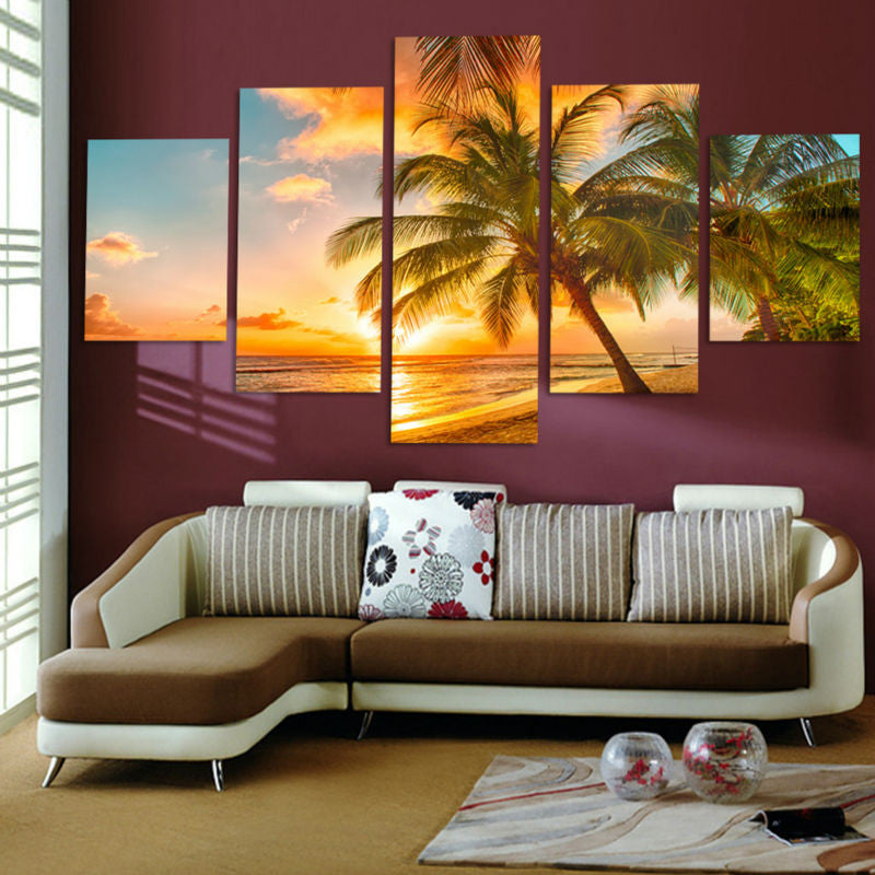 5 Piece Sunset sea beach Canvas - Home Wall Deco