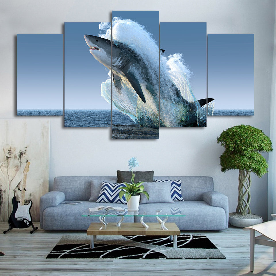 Canvas Art Jumping White Shark Wall Pictures for Living Room - Home Wall Deco