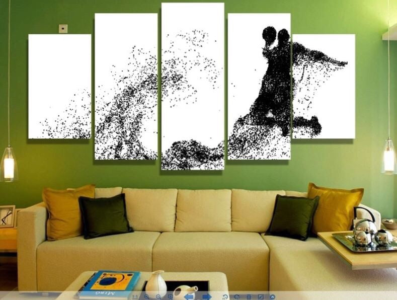 basketball white black Painting on canvas wall art Canvas Art - Home Wall Deco