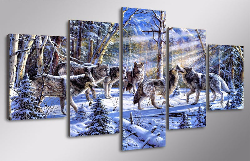 5 Piece wolves in the snow Canvas - Home Wall Deco