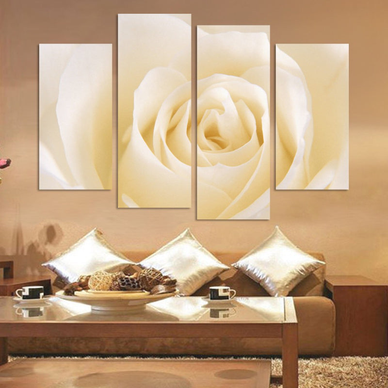 White rose flower print 4 Piece Canvas - Home Wall Deco