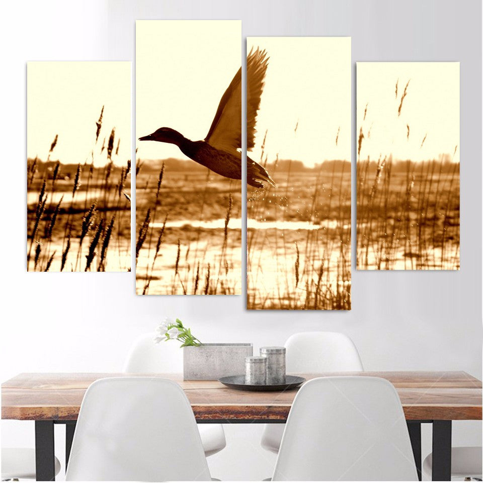 4 Pieces Duck training to fly Canvas - Home Wall Deco