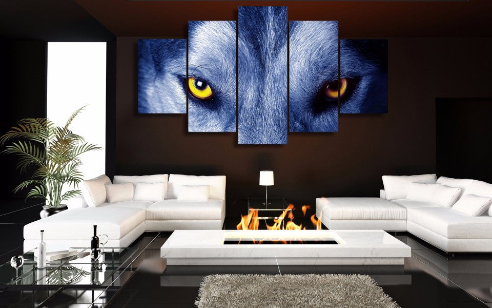 5 Piece Animal Wolf Eyes Canvas - Home Wall Deco