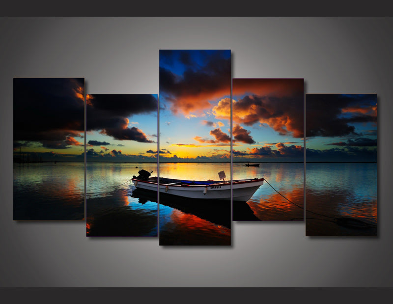 Sunset sky seaside boat Canvas Art For room decor - Home Wall Deco