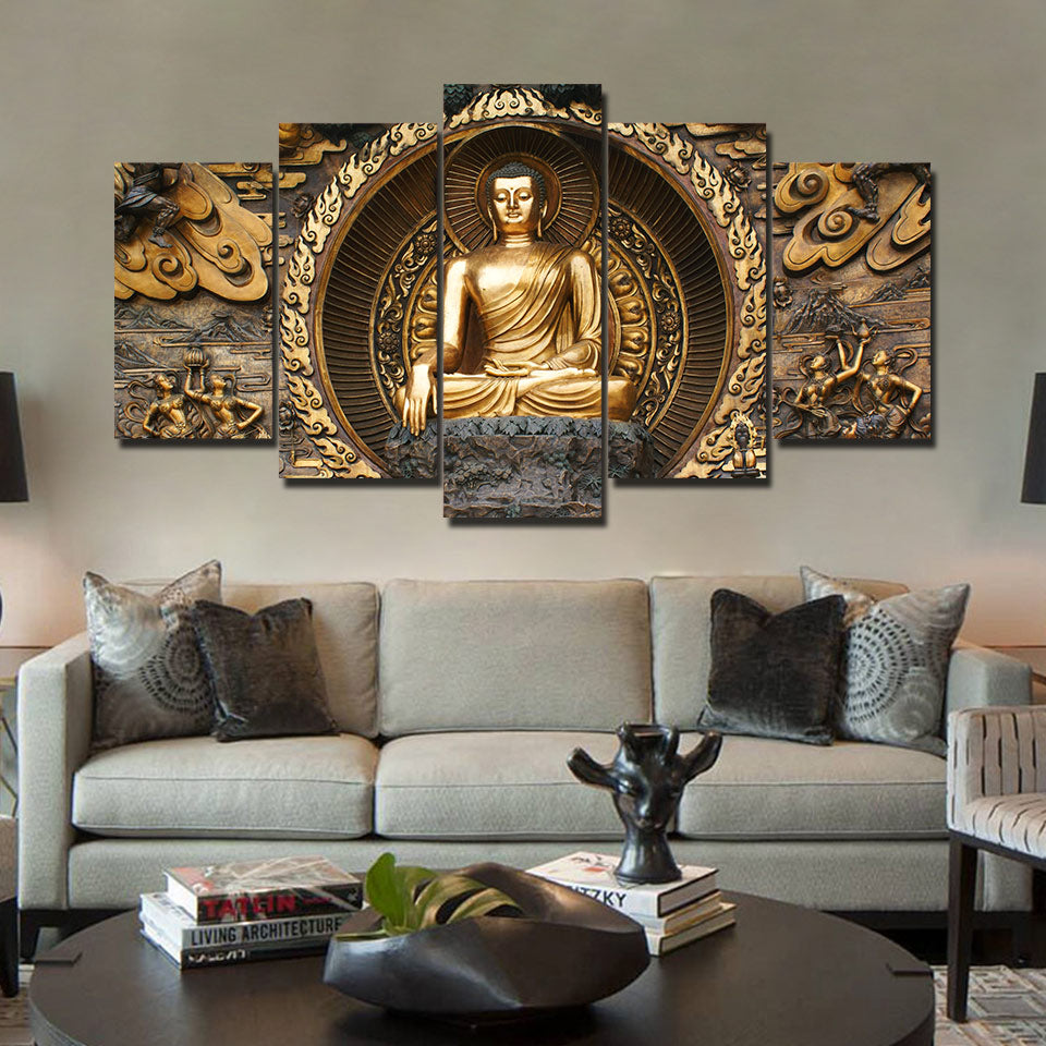 5 piece canvas art Buddha - Home Wall Deco