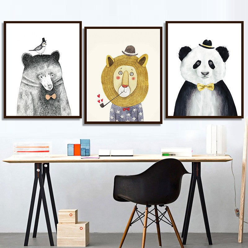 3 Pieces Animal Lion Bear Panda for kids room - Home Wall Deco