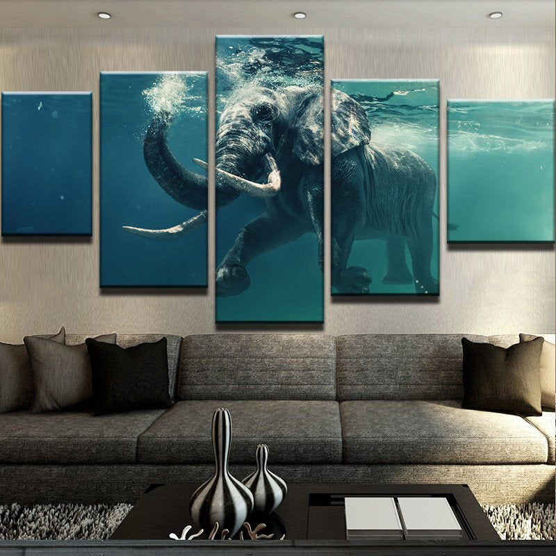 ELEPHANT SWIMMING Canvas Wall Art For Living Room Canvas Art - Home Wall Deco