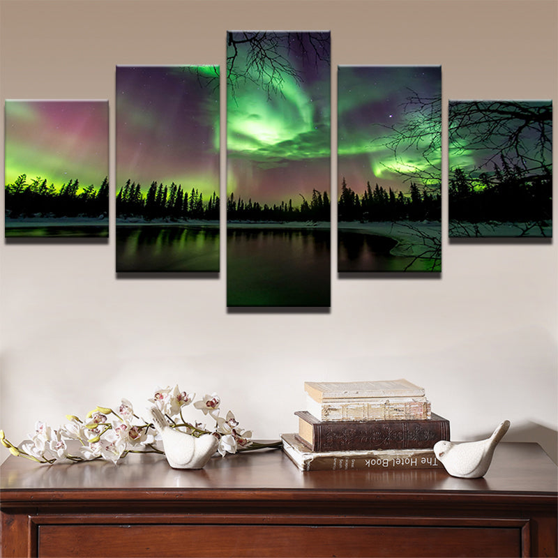Green Forest Aurora Landscape - Home Wall Deco