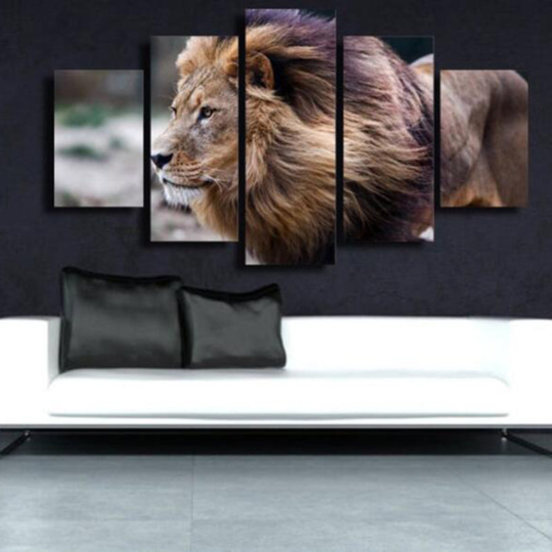 5 Pieces Animal Lion Wall Art Pictures - Home Wall Deco
