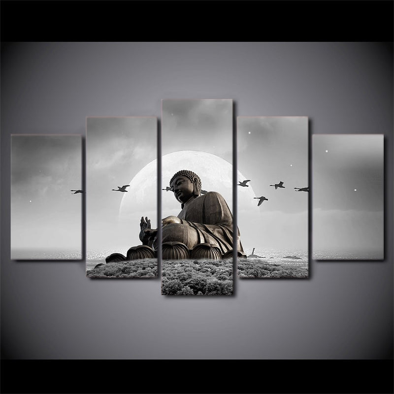 5 Pieces Figure Of Buddha Painting - Home Wall Deco