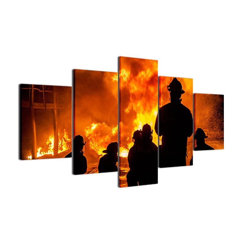 5 Pieces Firefighter Landscape Pictures Warrior Fireman Canvas Wall Art Canvas Art - Home Wall Deco