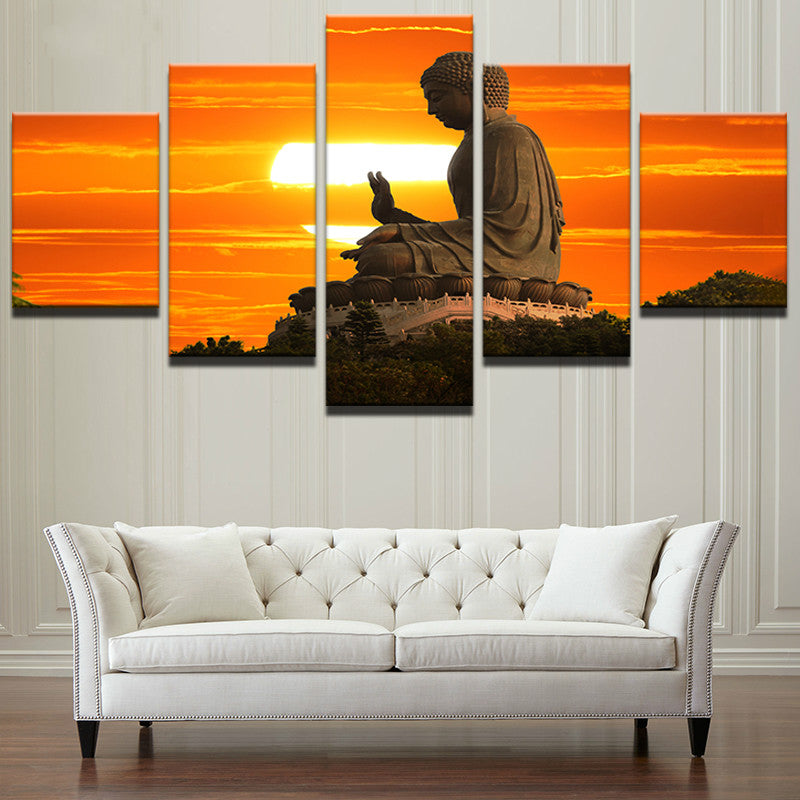 5 Pieces Sunset Landscape Statue Of Buddha Painting - Home Wall Deco