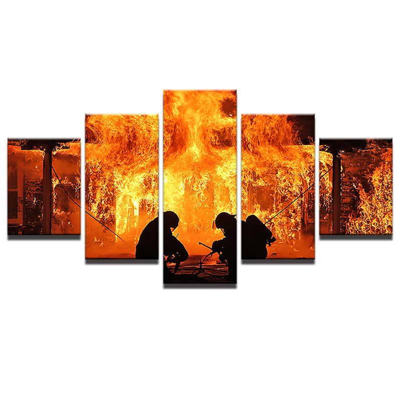 5 Pieces Canvas Fireman Firefighter Canvas Art - Home Wall Deco
