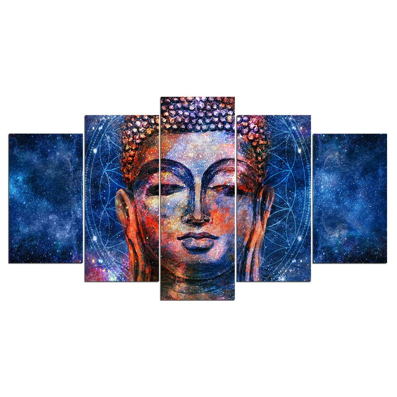 5 Pieces Blue Buddha Statue Painting - Home Wall Deco