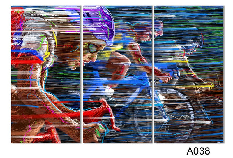 Bicycle Sport Race Multicolor Abstract Canvas 3 Piece - Home Wall Deco