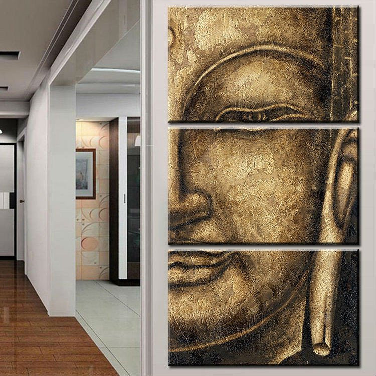 3 pieces Golden Buddha Canvas - Home Wall Deco