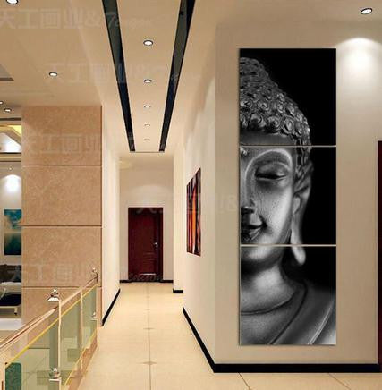 3 Pieces Buddha Canvas Printed - Home Wall Deco