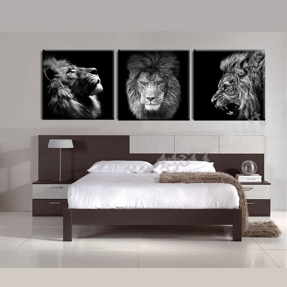 3 Piece Gray Lion king canvas - Home Wall Deco