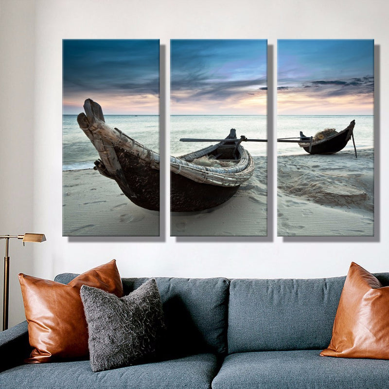3 Piece Beach Landscape Boat canvas - Home Wall Deco